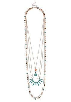 Layered chain and turquoise bead necklace (original price, $20) available at #Maurices