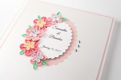 Beautiful Handmade Custom Wedding Guest Book Pink Quilling Flowers Personalized Wedding Keepsake Etsy by PaperParadisePL