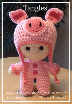 Pretty Piggy  Big Head Baby Doll by TanglesCrochet on Etsy