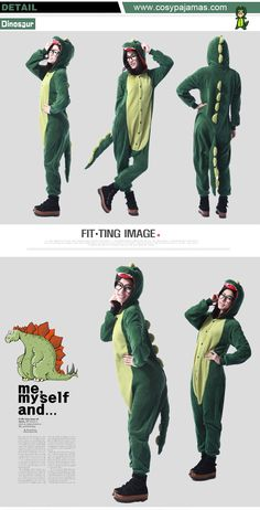 Animal Costume Dinosaur Adult Onesie Kigurumi Pajamas for Halloween and Dress Up Party
