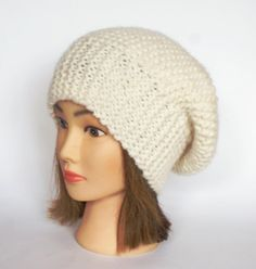 Beret style slouch hat off white slouchy beanie hat by Johannahats, $35.00