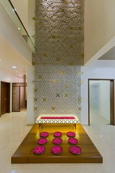 Interior Design by P & D Associates, Bharuch. Browse the largest collection of interior design photos designed by the finest interior designers in India. Wall Decor Design, Foyer Design, Modern Wall Decor, Pooja Room Design, Mandir Design, Stair Walls, Stairs, Courtyard Design, Puja Room