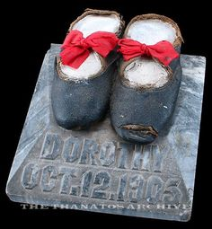 "Not a photograph, but here is an interesting and unusual memorial item from The Thanatos Archive's collection: the shoes of a deceased little girl, ""Dorothy"", mounted on a marble base marked with her date of death. Cemetery Monuments, Cemetery Statues, Cemetery Headstones, Old Cemeteries, Cemetery Art, Graveyards, La Danse Macabre, Gardens Of Stone, Post Mortem"