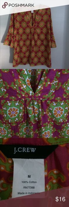 J.Crew top EUC. Beautiful colors and print. 3/4 sleeves. Length is 29 1/2 bust 42 J. Crew Tops
