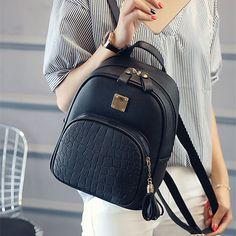 f1fa46ac43599 COOL WALKER New Fashion Women Backpacks Women s PU Leather Backpacks Girl School  Bag High Quality Ladies Bags Designer Bolsas -in Backpacks from Luggage ...