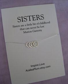 4 Schwestern Halskette. VIER Schwestern Sterlingsilber. Schwester-Halskette. Schwester-Geschenk. Braut.  Brautjungfer Schwester