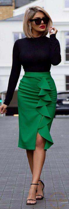 Pencil skirt Green skirt Fashion style