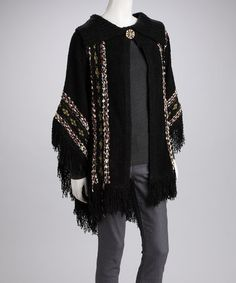 Take a look at this IB Diffusion Black Button Poncho by Prime Garments & Boom Boom Jeans on #zulily today!