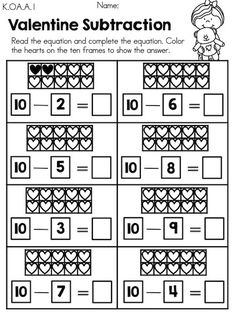 Valentine Subtraction with heart ten frames >> Part of the Valentine's Day Kindergarten Math Worksheets packet