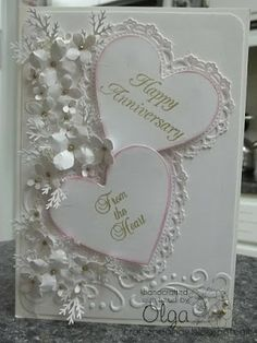 Timeless Amour Die from Heartfelt Creations heart Wedding Cards Handmade, Beautiful Handmade Cards, Wedding Gifts, Wedding Anniversary Cards, Happy Anniversary, Anniversary Quotes, Anniversary Ideas, Scrapbook Cards, Scrapbooking