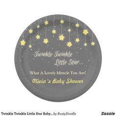 Twinkle Twinkle Little Star Baby Shower Supplies Paper Plate Twinkle twinkle little star, what a lovely miracle you are! Elegant party supplies for your baby shower party. Design comes with sparkling and glittering strung up stars contrasting beautifully with the grey background. Personalise easily with your party message. Text twinkle twinkle little star is not editable.