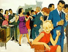 """""""Play a Happy Song."""" My favorite vintage cocktail party illustration. Soooo Mid Mod."""