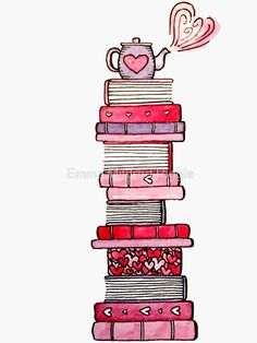 'I Love Books and Books Love Me' Sticker by Emma Mildred Riggle Book Journal, Bullet Journal Doodles, Book Art Drawings, Doodle Art Drawing, Art, Creative Bookmarks, Art Journal, Cute Drawings, Book Art