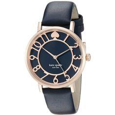 kate spade new york Metro Analog Display Analog Quartz Blue Watch (13.780 RUB) ❤ liked on Polyvore featuring jewelry, watches, quartz jewelry, analog watches, blue jewelry, kate spade jewelry and leather band watches