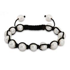 White Potato Pearl Shamballa Inspired Bracelet