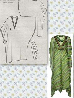 Resultado de imagen para free tunic sewing patterns for womenMAKE AN EASY KAFTAN (or CAFTAN) I used 2 yards of soft batik print that looks good on both sides.Is hand sewing simply a pastimeSewing By HarveySee related links to what you are looking for. Tunic Sewing Patterns, Clothing Patterns, Dress Patterns, Diy Clothing, Sewing Clothes, Fashion Sewing, Diy Fashion, Motif Kimono, Kaftan Pattern