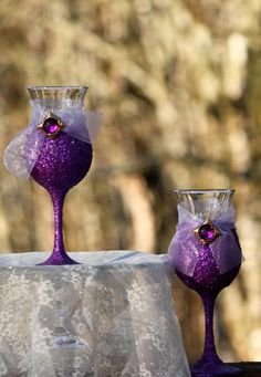 Purple Glitter Wine Glass Purple Glitter Margarita by CRdezines