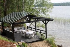 Patio Gazebo, Backyard, Cottage Lounge, Rustic House Plans, Summer Kitchen, Decks And Porches, Outdoor Projects, House In The Woods, Outdoor Furniture Sets