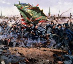 """""""Clear the Way"""" The Irish Brigade Massachusetts Regiment depicted here) advances on the Confederate Line at the Battle of Fredericksburg.Don Troiani Historical Artist Military Art, Military History, Military Uniforms, Military Pins, American Civil War, American History, Irish American, American Soldiers, Battle Of Fredericksburg"""