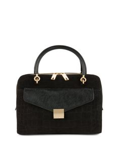 ALEXIA | Leather clutch and bowler bag - Black | Bags | Ted Baker