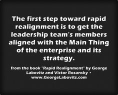 "Quote from the new book ""Rapid Realignment: How to Quickly Integrate People, Processes, And Strategy for Unbeatable Performance"" by George Labovitz and Victor Rosansky. –www.GeorgeLabovitz.com"