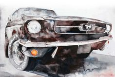 This is Black Sunshine 15 by 22″ watercolor on paper of a vintage mustang.  This is an homage to one of my favorite White Zombie songs.  I love the organic play of the dark colors, crisp, precise, and maybe a little sinister?