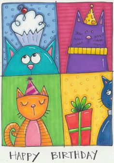 art - art Ideas For The Classroom - Cat painting - Gatos Art Drawings For Kids, Art For Kids, Cartoon Drawings, Cat Doodle, Happy Birthday Me, Niece Birthday, Cat Cards, Art Classroom, Classroom Ideas
