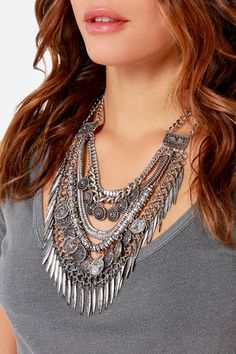 Pretty Silver Necklace - Statement Necklace - Collar Necklace - $28.00