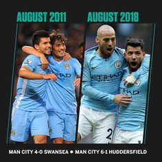 7 years on from Aguero's debut these two are still creating magic for Man City. Sergio Aguero, Zen, City Boy, Blue City, Football Boys, Swansea, Super Sport, Manchester City, Kicks