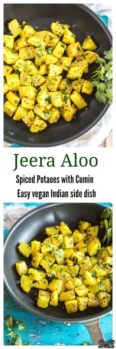One of the easiest Indian side dish that you can make – Jeera Aloo requires only a handful of ingredients and is ready in minutes. The amazing combination and aroma of cumin and potatoes makes it a very popular recipe! #vegan #indian #vegetarian