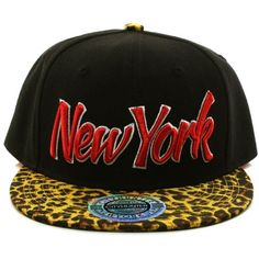 Men s Leopard Animal Print New York Snapback Baseball Adjustable Cap Hat  Black 43d2721fbf18