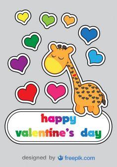 Valentine's Day Cartoon Giraffe Card Design