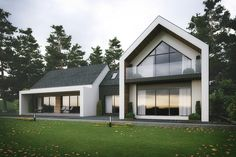 Fascia front entrance blends into front porch modern gable roof with windows