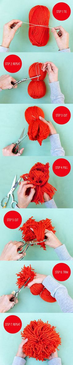How to make giant pom poms! 20 Inasnely Clever Yarn Hacks That Will Make Your Next Project Easier!
