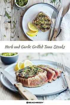 Herb and Garlic Grilled Tuna Steaks For a restaurant-quality meal in less time than it takes to order takeout try our Herb and Garlic Grilled Tuna Steaks recipe featuring tarragon, garlic, and tangy lemon zest. Tuna Steak Recipes, Grilling Recipes, Fish Recipes, Salmon Recipes, Healthy Meal Prep, Healthy Dinner Recipes, Healthy Eating, Clean Eating, Healthy Options