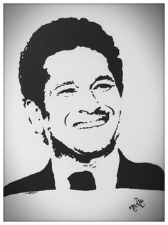 Sachin stencil Black Pen Drawing, Doodle Art Drawing, Art Drawings, Paper Drawing, Drawing Ideas, Stencil Printing, Stencil Art, Pop Art Portraits, Portrait Art