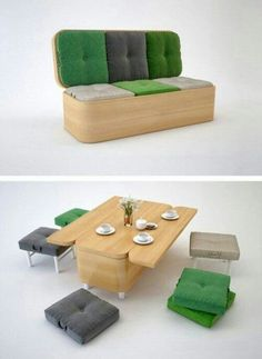 This piece is the definition of versatile. Its a sofa, a table, and chairs. It pretty much speaks for itself.