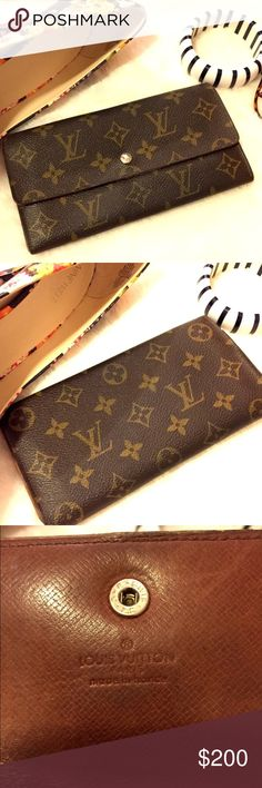 💯 Louis Vuitton vintage long wallet Great wallet with typical vintage wear (see photos). Re-listed as buyer decided on a different one I had so I let her swap :) Louis Vuitton Bags Wallets