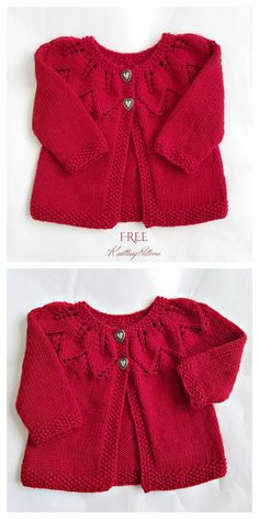Knit Baby Leaf Cardigan Hat Set Free Knitting Patterns - Knitting Pattern - Diy and crafts interests Ravelry Free Knitting Patterns, Free Childrens Knitting Patterns, Baby Cardigan Knitting Pattern Free, Baby Sweater Patterns, Knitted Baby Cardigan, Knit Baby Sweaters, Leaf Knitting Pattern, Baby Knitting Free, Baby Girl Cardigans