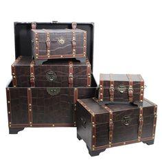 5 Piece Leather Trunk Set