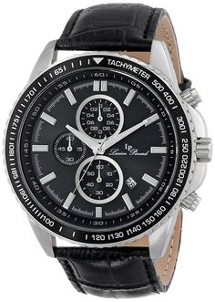 Lucien Piccard Men's LP-12552-01-BK Cartagena Analog Display Japanese Quartz Black Watch -- More info could be found at the image url.