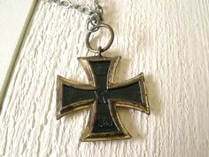 Antique Iron Cross medal necklace German 1914 WWI military medallion. $85.00, via Etsy.