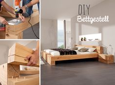 The Massiv Blox wooden beams create a variety of possibilities to build high quality solid wood furniture yourself. a bed frame – with Akkubohrschrauber and wooden dowels. Bedroom Furniture, Diy Furniture, Furniture Design, Furniture Risers, Bed Design, House Design, Hardwood Stairs, Contemporary Stairs, Modern Stairs