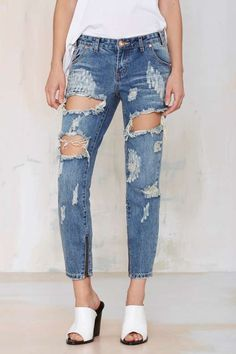 One Teaspoon Trashed Freebird Jeans - Brave - Clothes