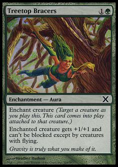 Treetop Bracers - Enchantment - Aura - Tree - Green - 10TH Edition - Magic The Gathering Trading Card