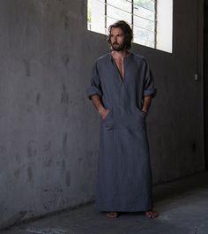 """Men's+stylish+100%+linen+homewear.+Fashionable+""""lead+grey""""+kaftan.+Men's+kaftan"""