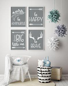 Be Brave Nursery Wall Art, Adventure Nursery Decor, Grey Nursery Print, Printed Wall Art, Set of 4 Prints, 8 x 10, 11 X 14, Gender Neutral by CopperAndToad on Etsy