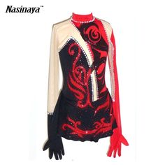 171.88$  Watch here - http://aliatn.worldwells.pw/go.php?t=32653717207 - Customized Costume Ice Figure Skating Dress Gymnastics Adult Child Girl Skirt Competition White Black Rhinestone Red Gloves 171.88$