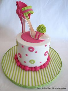 If the shoe doesn't fit.....consider a cake instead! A gorgeous stillito cake display In lime green and pink, perfect for any diva!