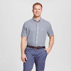 Men's Big & Tall Gingham Check Short Sleeve Shirt Navy (Blue) 4XB Tall - Merona